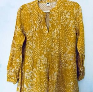 Mustard Yellow Floral Tunic Top